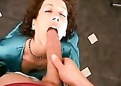 Housewife in satin robe fucked at home