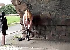 Blonde voyeur babe Sophie Keagan public flashing and upskirt