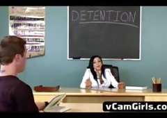Naughty teacher Audrey Bitoni gets a dick in detention