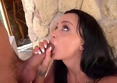Tanned brunette ass fucked and jizzed right
