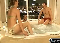 Naughty women and nasty dudes have fun in the bathtub