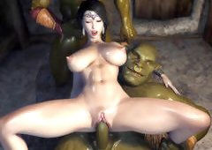 Queen with big boobs get banged by two green mummies