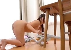Cute babe Kaori likes to clean the house completely naked
