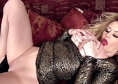 Big-boobied blonde plays with grand tits and shaved pussy
