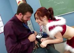Ginger plays the role of Santa and gets banged by her professor