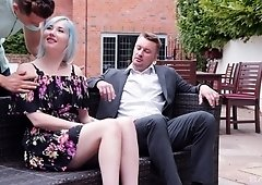 Misha Mayfair fucks two guys in a public park with a happy ending