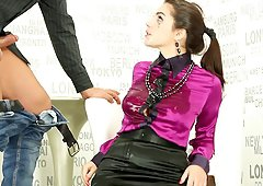 Satin blouse and skintight skirt on a deepthroating girl