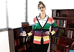 Librarian lets her hair down and does a striptease