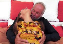 A nasty old dude penetrates a hot teen on her bed here