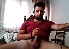 Turkish Guy Jerking Thick Cock On Cam 1