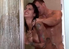 Lusty wet shower sex with smoking hot Angelina Valentine