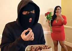 Teen robber is caught eating by big black horny woman