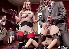 Tied up wrists whore anal hardcore toyed at group sex