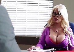 Beautiful secretary likes showing her tits