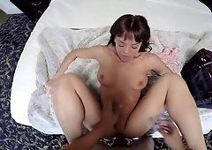 Brunette cutie with a big booty gets her pussy destroyed by a stud