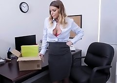 Sexy office lady gets her pussy plowed in POV