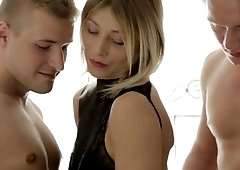 Blonde Norma gets stuffed in all her holes by two guys