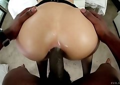 Bold lady with fabulous big rack Katrina Jade takes BBC right into her ass