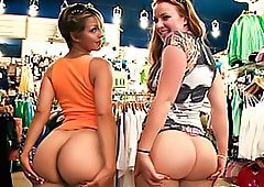Fat Asses In Thong Inside The Store