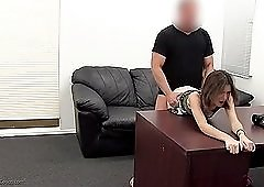 Beautiful young lady takes her first anal creampie