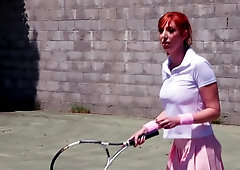 After tennis game, coach penetrates hairy twat of redhead