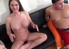 Kinky sex threesome with nasty brunette Cathy Heaven