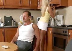 Yellow top flat-chested blonde getting fucked on a bed