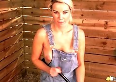 Country chick in overalls Sky shows off her juicy tits with hard nipples