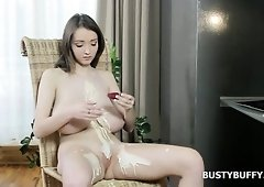 Busty Buffy has got unbelievable all-natural boobs and she loves masturbating