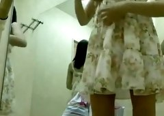 Asian girl spied dressing her ballet outfit
