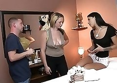 Behind the scenes footage featuring several hot babes