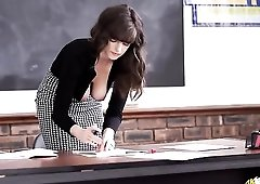 Bent over teacher teases her gorgeous breasts