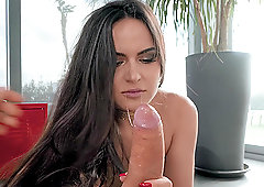 Long haired brunette babe Monica Brown pounded doggy style