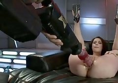 sexy brunette fucked hard by machines