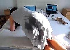 Sensual masturbation with sexy brunette