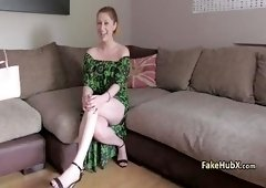 Redhed milf takes hard cock on interview sucking with her hot inked body