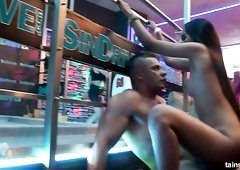 Czech slutty nympho Virus Vellons teases dick along with hoes in the club