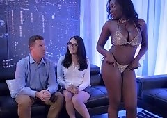 Couple visits the strip club and fucks the black stripper