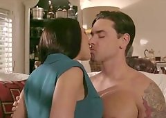 A girl kisses a dude and she gets a tit fuck in the end