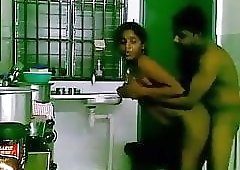 Desi couple in kitchen having awesome fun