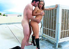 Ravishing Nicole Aniston has her orgasmic snatch plugged on a rooftop
