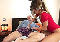 Tattooed blonde MILF Katrin Tequila gets cum covered by an older guy