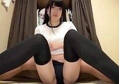 Cute Asian girl in tight panties teases and pleases a dick