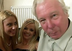 Old guy finally gets to bang Nikky Thorne and her sexy friend