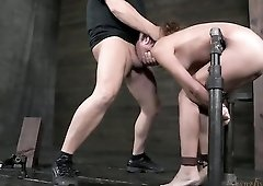 Amber Rayne mouth fucked in sexy bondage