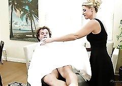 Fabulous blonde MILFie masseuse India Summer enjoys doggy fuck during massage