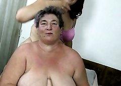 Fat grandma gets hard orgasm with her GF