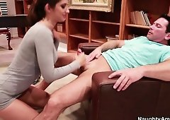 Tutor Karina White meets her new student and teaches him with her mouth