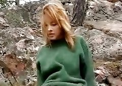 Cute russian babe Krista masturbates outdoor