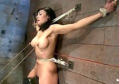Nipples Pull 1 Way, Neck Rope Pulls The Other. 2 Options: Breathe Or Suffer. All While Cumming. - HogTied